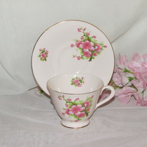 VINTAGE PINK CUP & SAUCER TUSCAN PLANT 51224 FLORAL ENGLAND BONE CHINA F... - $19.80