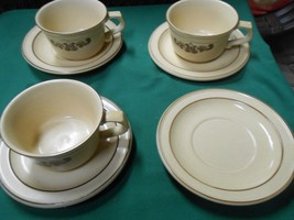 """Pfaltzgraff """"Village"""" 3 Cups And Saucers & 1 Free Saucer - $10.11"""
