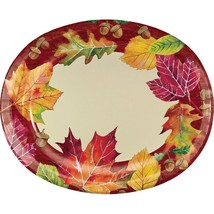 Fallen Leaves Fall Thanksgiving 8 Ct Oval Banquet Platters - $8.99