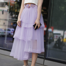 High Waist Hi-lo Layered Tulle Skirt Outfit Plus Size Wedding Outfit Bridesmaid image 4