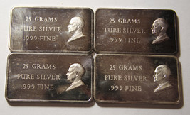 4 Art Bars 25 Grams Pure Silver each Dwight Eisenhower IKE  Lot# N 376