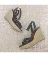 PRADA heels Wedges Espadrilles Dark Green Patent Leather Size 38 Designer - $89.99