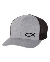 JESUS FISH GOD CHRISTIAN Trucker Cap FLEXFIT HAT *FREE SHIPPING in BOX* - $19.99