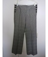 J. CREW LADIES WOOL BLEND/LINED GRAY PLAID PANTS-BUTTON SIDES-4 FAVORITE... - $11.78