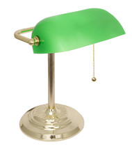 LightAccents Metal Bankers Desk Lamp Glass Shade  (Brass) - €32,36 EUR