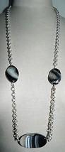 VTG Silver Tone Chain Link White Black Agate Quartz Stone Necklace - $19.80