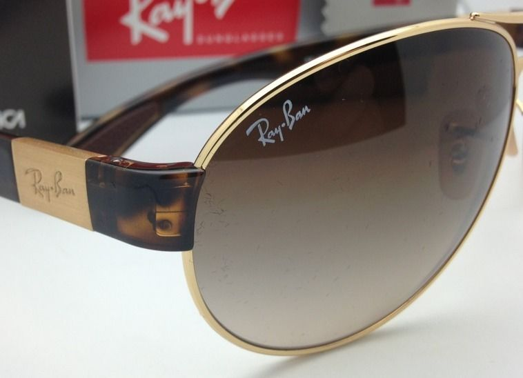 RAY-BAN Sunglasses CLUBMASTER METAL RB 3716 9008/51 51-21 Gold-Tortoise w/ Brown