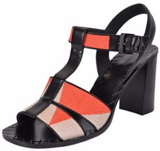 NEW Bottega Veneta $990 Orange Beige Colorblock T Strap Sandals Shoes 40 10 - $329.00