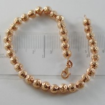 18K ROSE PINK GOLD BRACELET WITH FINELY WORKED SPHERES 5 MM BALLS MADE IN ITALY image 1