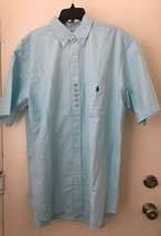 Ralph Lauren Mens Shirt Blue XLT Short -Sleeve Button Down Pocket XLT - $41.83