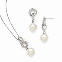 STERLING SILVER MAJESTIK  10 - 11 MM SHELL PEARL AND CZ EARRING NECKLACE... - $170.26