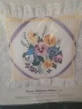 Something Special Pansy Ribbon PILLOW counted cross stitch kit complete - $11.30