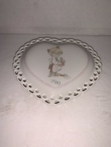 Precious Moments Porcelain HEART SHAPED MAY TRINKET BOX 1988 - $10.00