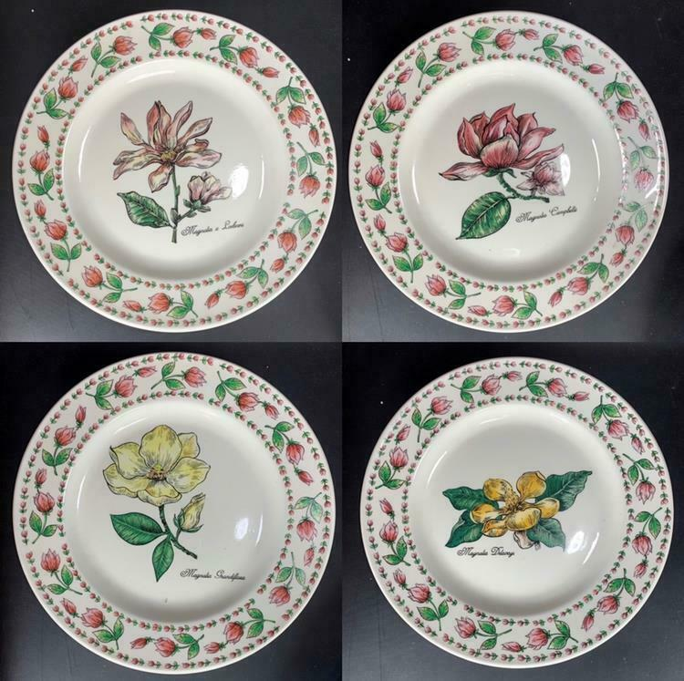 "Primary image for 4 PC NEW Botanical Gardens TABLETOPS UNLIMITED Dinner Plates 10.5"" Floral"