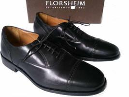 FLORSHEIM men size 8.5 M dress black leather cap toe shoes - $126.10