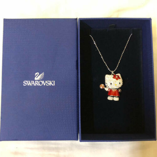 Hello Kitty x Swarovski Lollipop Necklace Pendant Boxed Pre Owned From Japan F/S - $342.01