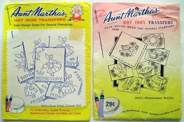 2 Aunt Martha's Iron-On Transfer Patterns Colonial Girl & Dinnerware Motifs - $7.55