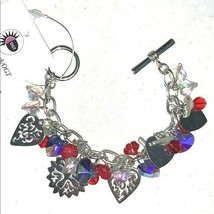 Chunky Charm Bracelet Snowflakes Hearts Flowers - $32.62