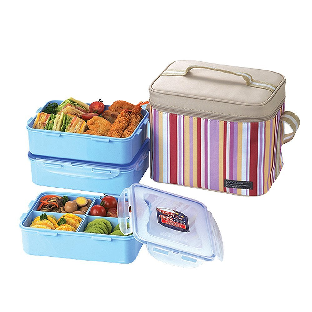 Lock & Lock Square Lunch Box with BPA Free Food Containers with Leak Proof Locki - $69.29