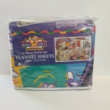 Vintage Disney Team Mickeys Stuff 3 Pc Twin Set Flannel Sheets Cotton Pi... - $67.72