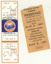 San Francisco Giants @ Houston Astros 8/4/81 Phantom Ticket! Parking Pas... - $2.96