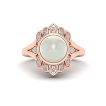 June Birthstone Off White Pearl Ring Unique Design Promise Ring Annivers... - $959.99