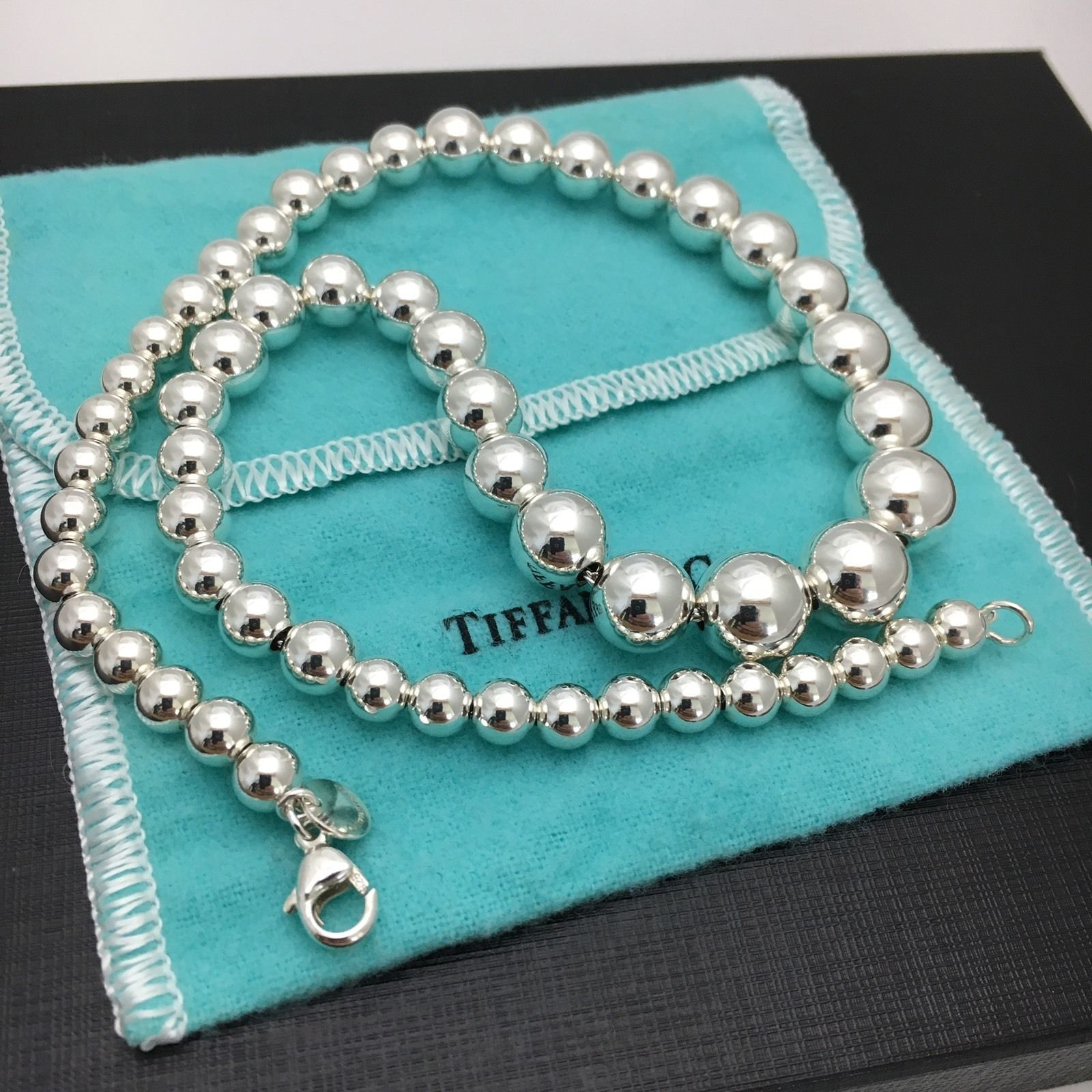 9b9ef8393 57. 57. Previous. Tiffany & Co Sterling Silver Bead Ball Graduated Bead  Necklace. Tiffany & Co Sterling ...