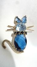 Vintage Blue Slag Black Ebony Prong Set Rhinestone Cat Brooch Pin - $49.99