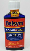 Delsym Adult Night Time Cough and Cold Liquid, Mixed Berry Flavor, 6 oz ... - $8.29