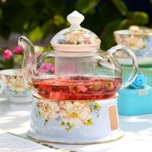 Glass tea set creative bone china flower teapot teacup heat tea filter k... - $137.80