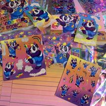 Lisa Frank PANDA PAINTER HOLLYWOOD BEAR lot Stickers Stationery Notecard Etc Mor image 12