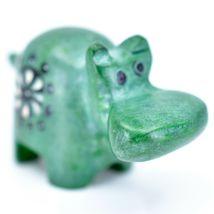 Tabaka Chigware Hand Carved Kisii Soapstone Green Hippopotamus Hippo Mini Figure image 4
