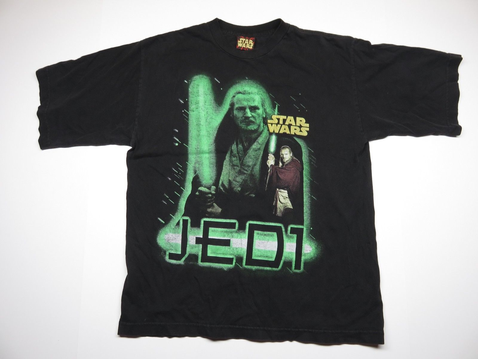 90s Retro STAR WARS QUI-GON JINN & DARTH MAUL JEDI SITH LORD T-SHIRT BLACK