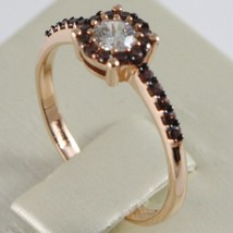 18K ROSE GOLD BAND RING, ETERNITY SOLITAIRE WITH ZIRCONIA, BROWN, MADE IN ITALY image 2