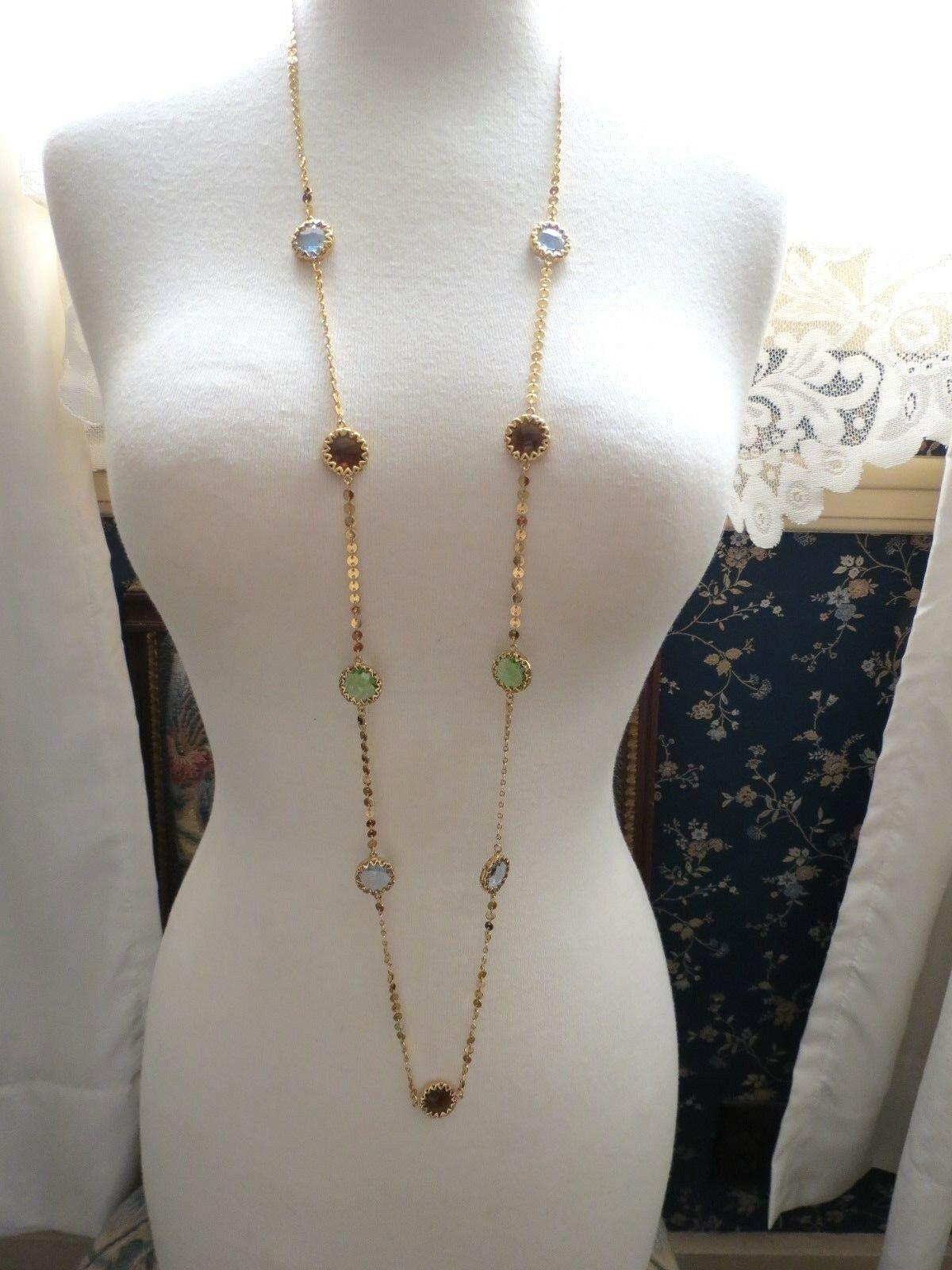 """Robert Verdi Bezel Set Crystal Necklace Gold Plated Links 46"""" Cushion Designer image 2"""