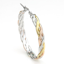 Inter-Woven Tri-Color Silver, Gold & Rose Tone Hoop Earrings- United Elegance image 2
