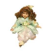 """Rose Collection Porcelain Doll Brown Curly Hair 22"""" Sitting Vintage Coll... - $29.69"""