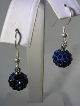 SWAROVSKI ELEMENT SAPPHIRE BLUE CRYSTAL HANGING BALL EARRINGS IN STERLIN... - $19.75