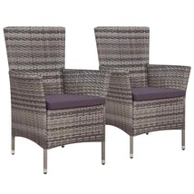 vidaXL 2x Outdoor Dining Chair Poly Rattan Wicker w/ Cushion Gray Garden... - $125.99