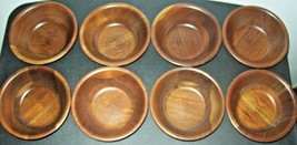 "8 VINTAGE WOOD SALAD BOWLS SNACK BOWLS VERY WELL KEPT 2.5 X 6"" STACKABLE... - $28.84"