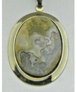 Yellow White Gray Agate Stone Amazing Detail Gold Tone Necklace Pendant ... - $29.69
