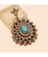 Arizona Sleeping Beauty Turquoise Pendant Turkish 2Tone Sterling Silver ... - $20.71