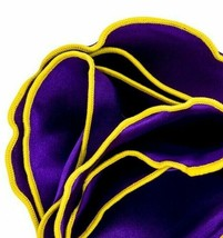 PURPLE Silk YELLOW border Trim Pocket square Round Handkerchief edge NEW... - $11.95