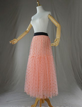 Peach Polka Dot Tulle Skirt Peach Tiered Party Tulle Skirt Holiday Outfit Plus  image 6