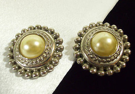 PREMIER Faux PEARL Silver Plate Clip Earrings Rope Twist Beaded Domed Vi... - $14.84
