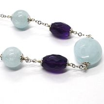 925 Silver Necklace, Oval Amethyst, Aquamarine Disk and spheres, Choker image 3