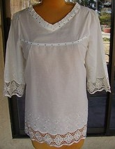 Pretty Angel Boho Style Embroidered & Bling Trim Blouse Sz. M, L - $12.99