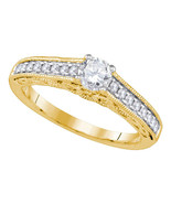 14k Yellow Gold Round Diamond Solitaire Bridal Wedding Engagement Ring 5... - £1,304.46 GBP