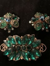 vintage Rare beau jewels earrings brooch crystals Emerald Green gold pla... - $84.15