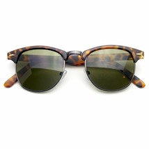 Klassisch Halbrand Gold Akzent Halber Rahmen Sonnenbrille - $7.55